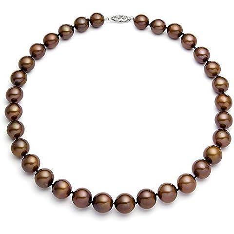 14 K oro blanco clásico de perla cultivada de cacao + collar de calidad AA (10, 5-11, 5