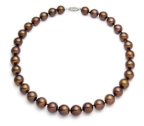 Oro bianco 14 k con perla coltivata d'acqua dolce di cacao, qualità AA, 9,5-10,5 mm, Oro bianco, colore: argento, cod.
