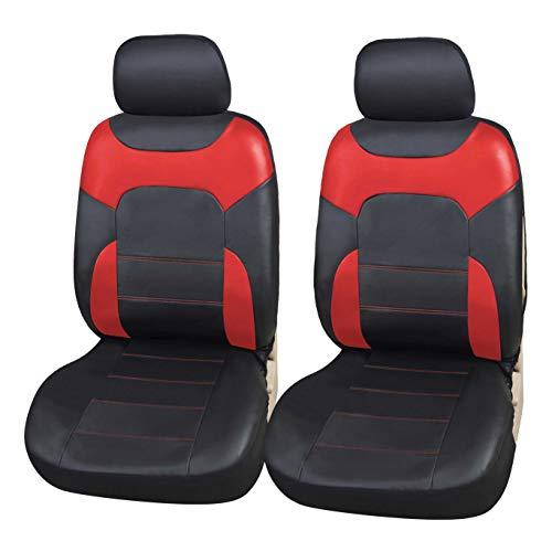 Upgrade4cars Sitzbezüge Auto Vordersitze Leder-Optik | Kunstleder Schonbezüge Set Universal Schwarz Rot | Auto-Zubehör Innenraum Sitzschoner