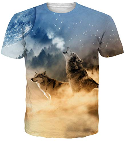 Adicreat Men Summer 3D Printed Wolf T-Shirt Short Sleeve Undershirt Tee Tops e5f643308633