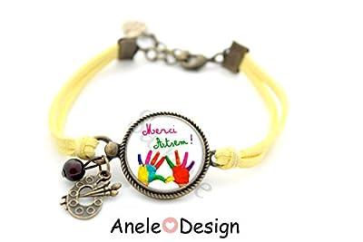 Bracelet * Merci Atsem! * cadeau enfant école cabochon