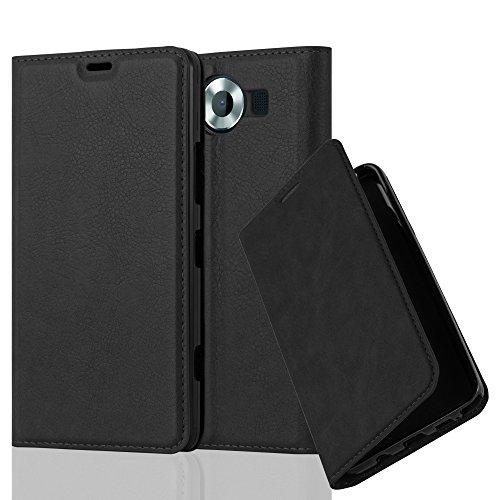 Cadorabo Hülle für Nokia Lumia 950 - Hülle in Nacht SCHWARZ – Handyhülle mit Magnetverschluss, Standfunktion und Kartenfach - Case Cover Schutzhülle Etui Tasche Book Klapp Style