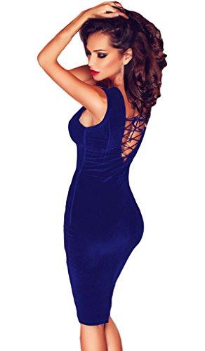 EOZY Robe Dos Nu Lacet Dentelle Floral Moulant Fourreau Robe Midi Bleu