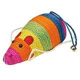 Flyyfree Bunte, große Sisal-Kratz-Maus Spielzeug für Katzen