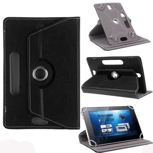 """Hello Zone Exclusive 360° Rotating 8"""" Inch Flip Case Cover Book Cover for Micromax Canvas P666 -Black"""