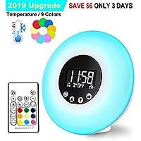 Wake Up Light Sunrise Alarm Clocks Upgrade Remote Control Thermometer FM Radio 9 Changing Colors 51 Alarm Sounds Wake-Up Lights Night Mood Light Sunset Simulation Beside Lamp USB Powered Kids Adult