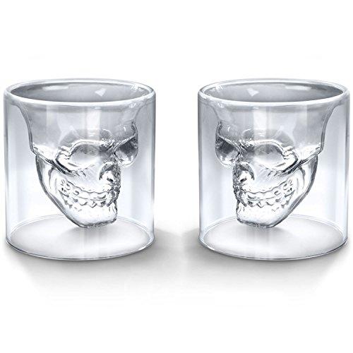Kristallglas Shotglas Schnapsglas, Totenkopf, doppelwandig, transparent, glas, 250ml,2 Pcs, 250ml,2 Pcs (Pc 250/2)