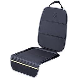 Parenthings Premium Integrado Protector Asiento Coche Trasero Funda, termoconformado y adaptable, con protección antideslizante de tapicería de doble agarre, bolsillos de almacenamiento integrados.