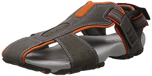 Bata Men's Grey and Silver Sandals and Floaters - 8...