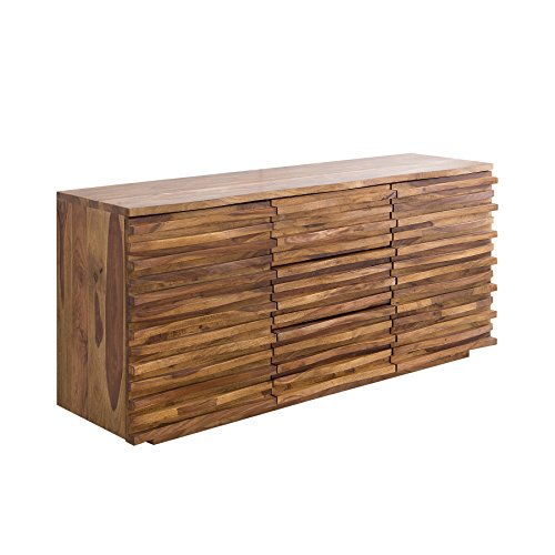 Riess Ambiente Massives Sideboard Relief 160cm Sheesham Holz Stone Finish Kommode Anrichte Schrank