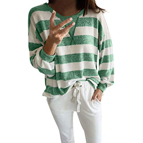 Alwayswin Damen Langarm O-Ausschnitt Sweatshirt Streifen Druck Langarmshirt Beiläufige Mode Lange Hülsen T-Shirt Lose Wild Bluse Tuniken Oberteile Pullover -