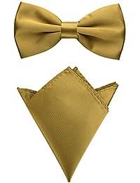 Rusty Bob - Fliege mit Einstecktuch in verschiedenen Farben (bis 48 cm Halsumfang) - zur Konfirmation, zum Anzug, zum Smoking - im 2er-Set