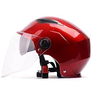 YEMA Sommermotorradhelm Vier Jahreszeiten Universal Männer Und Frauen Halbe Helme Doppellinse Schutzkappe Jethelme Scooter Sport Helm,Red-Transparentlens