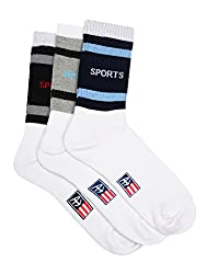 Arrow Mens Sport Calf Length Soft Combed Cotton Socks Pack of 3 Pair