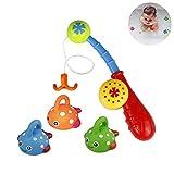 WLot Baby Badespielzeug Badewannenspielzeug wasserspielzeug Badespaß mit 3PCS Schwimmenden Fisch Angelspiel für Kinder