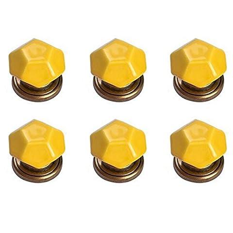 fbshop (TM) Lot de 6Tortue shell-shaped Rétro Poignée de Porte en Céramique Tirez boutons de porte placard armoire pour chambre, tiroir, placard de cuisine, commode, Bin, Commode, Placard, etc. avec vis avec base en alliage de zinc