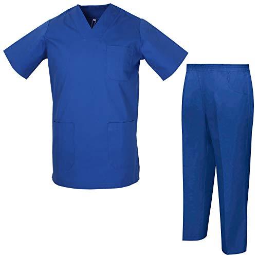 MISEMIYA - Uniformi Unisex Set Camice ? Uniforme Medica con Maglia e Pantaloni Uniformi Mediche Camice Uniformi sanitarie - Ref.8178 - XX-Large, Blu