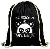ShirtStreet süße Geschenkidee Panda Unicorn natur Turnbeutel Rucksack Gymsac Pandacorn Ninja,...