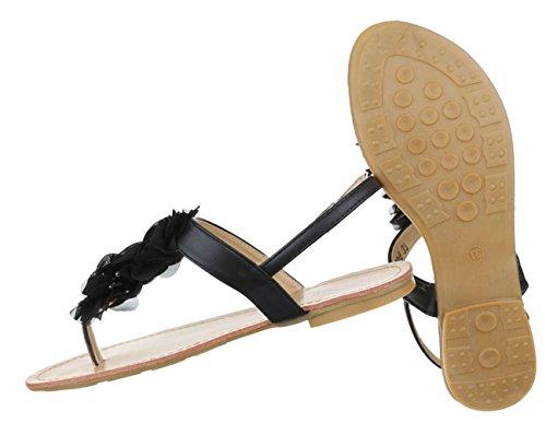 Damen Sandalen Schuhe Sommerschuhe Strandschuhe Zehentrenner Schwarz Gelb 36 37 38 39 40 41 Schwarz