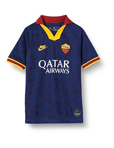 Nike a.s. roma 2019/20 stadium third, maglietta unisex bambini, blue void/university gold, l
