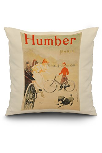 Humber Vintage Poster (artist: Deville) France c. 1893 (20x20 Spun Polyester Pillow Case, White Border)