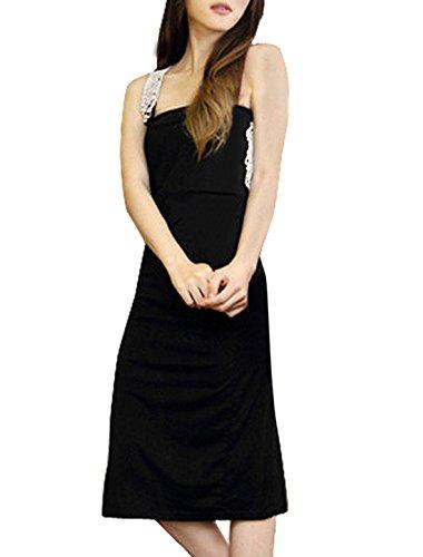 Femmes Sans Manche Col Rond Lacets Pur Crochet Haut Robe Noir