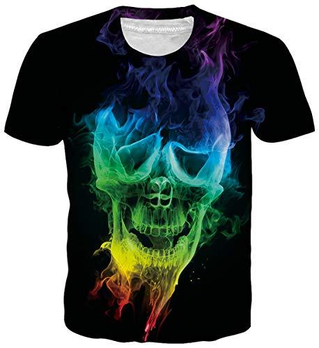 uideazone Unisex 3D Schädel Druck Sommer Lustige Beiläufige Kurzarm T-Shirts Tees (Lustig Männer T-shirts)