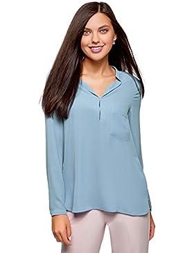 oodji Collection Mujer Blusa de Tejido Fluido con Escote EN V