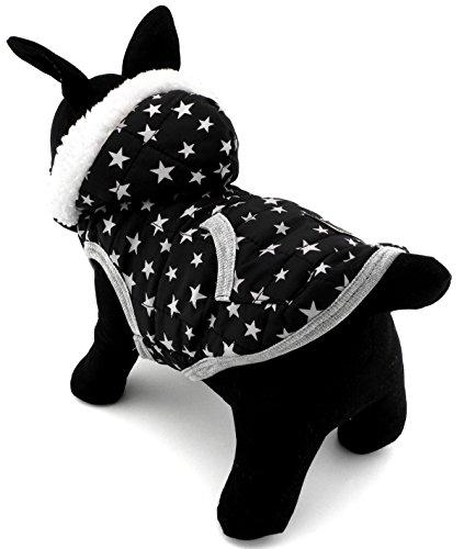 ZUNEA Winter Weste für Kleine Hunde Mit Kapuze Fleece Gefüttert Welpen Katze Jacke Mantel Weiche Warme Pet Kleidung Bekleidung Stern M