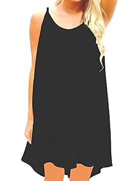 SUNNOW 5 Colores Nuevo Vestido de Verano de Las Mujeres Vestido de Playa sin Mangas sin Espalda Suelta Falda de...