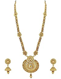 Palash Floral Designer Gold Plated Long Necklace Set