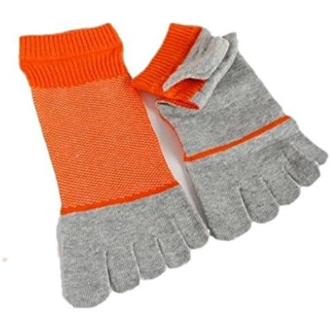 Calcetines para hombre Auxma Los hombres respirables de los deportes del algodón cinco calcetines de los dedos de los pies (naranja)