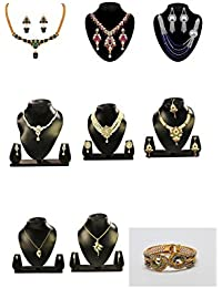 Kaveesha Stunning Designed Pearl And Metal Designer Necklace Combo For Women