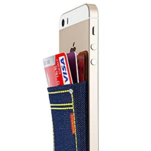 Sinjimoru Sinji Pouch 3M Pouch Removable Adhesive Card Back Pocket Case Money Clip Back Cover Wallet Skin Protection for all iPhone 5 5S 5C iPod Touch Galaxy S3 S4 S5 LG G2 G3 HTC One M8 Galaxy Note 3 2 Ipad Mini Ipad 2 3 Sony Xperia (Denim Blue)