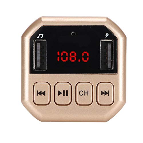 Oumij Bluetooth Wireless im Auto FM Radio Adapter, Auto Bluetooth Wireless MP3 HD Player FM Transmitter Modulator mit Eigenem Ladegerät(Gold)