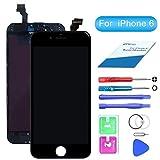 QI-EU écran LCD Assemblée Compatible pour iPhone 6 Noir Remplacement Kit de Réparation avec Outils