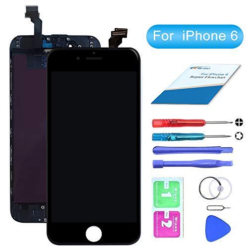 """QI-EU LCD Ersatz Bildschirm Display Kompatibel für iPhone 6 4.7"""" Digitizer Schwarz Touchscreen Glas Retina"""
