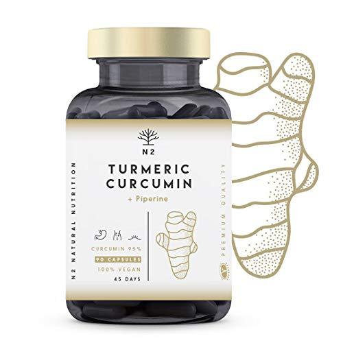 Cúrcuma Piperina 95% Curcumina-Pimienta Negra. Suplemento Máxima Concentración-Alta...