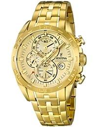 Festina F16656/2 - Reloj analógico de cuarzo para hombre, correa de acero inoxidable chapado color dorado (cronómetro)