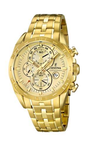 Festina F16656/2 – Reloj analógico de cuarzo para hombre, correa de acero inoxidable chapado color dorado (cronómetro)