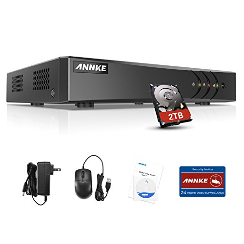 ANNKE DVR 16 Kanal 720P 5in1 TVI/AHD/CVI/CVBS/IPC DVR Receiver Netzwerk Digital Video Recorder mit 2TB Festplatte für CCTV Überwachungskamera HDMI VGA Ausgang,Smart Search Dvr Cd