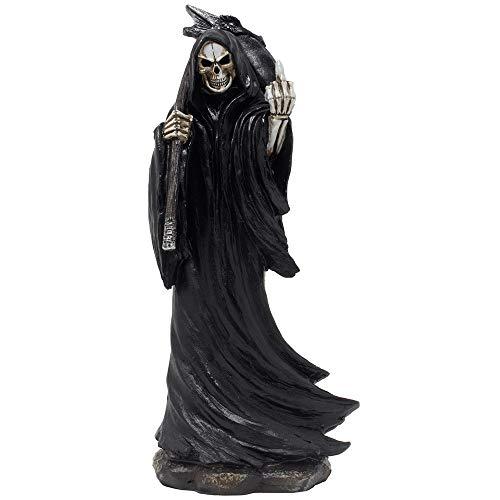 Böse Sensenmann Flipping The Middle Finger Statuette mit Drachenkopf-Sense für gruselige Halloween-Dekorationen und Horror-Film Gothic Decor Figuren oder lustige Gag Geschenke für Mann Höhle - Horror-film-figuren