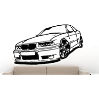 Streetwall Pared Adhesivo BMW 325i E36, Vinilo, Negro, Large