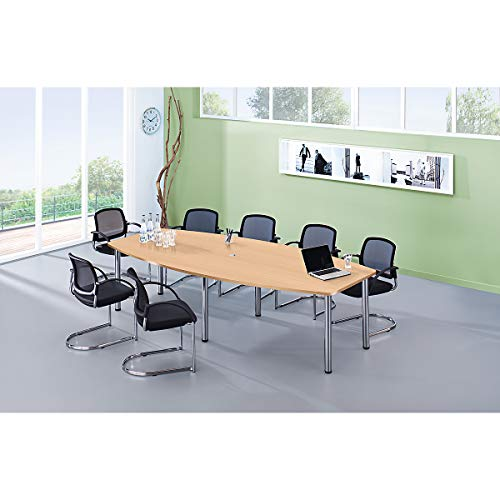 Hammerbacher Konferenztisch - Gestellvariante Rundrohrbeine, für 10 Personen - Buche-Dekor -...