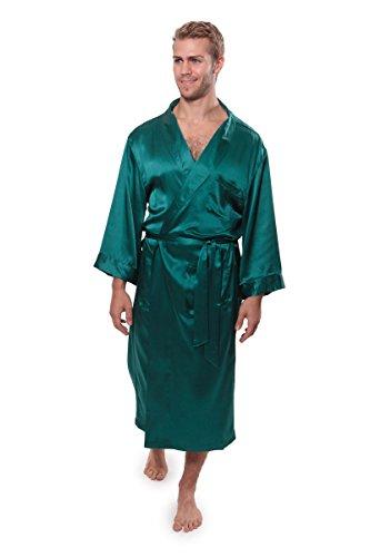 TexereSilk Herren Bademantel aus 100% Seide, luxuriöser Bademantel für Ihn, Turin - Grün - Small/Medium - Green Christmas Pyjama