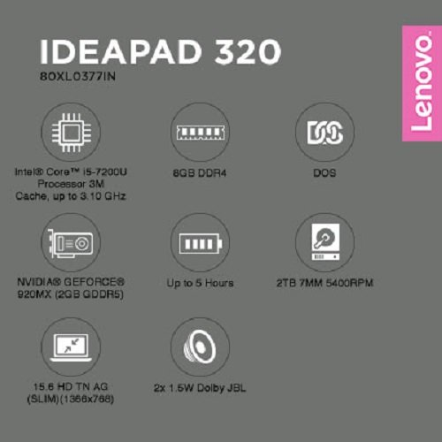 Lenovo IdeaPad 320-15IKB 80XL0377IN 15.6-inch Laptop (7th Gen Core i5-7200U/8GB/2TB/DOS/2GB Dedicated Graphics), Platinum Grey