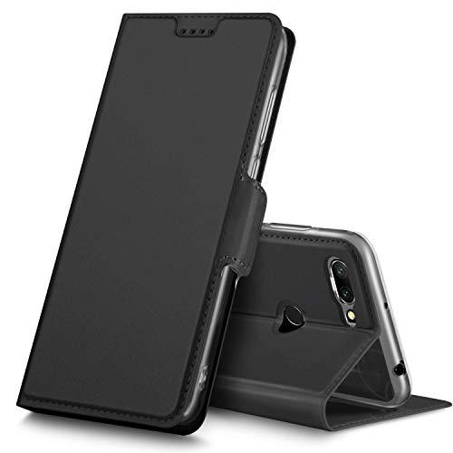 GeeMai Xiaomi Redmi 6 Hülle, Premium Xiaomi Redmi 6 Leder Hülle Flip Case Tasche Cover Hüllen mit Magnetverschluss [Standfunktion] Schutzhülle handyhüllen für Xiaomi Redmi 6 Smartphone, Schwarz