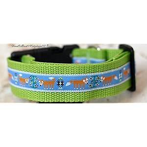 Hundehalsband Füchse in Blau, Mittel