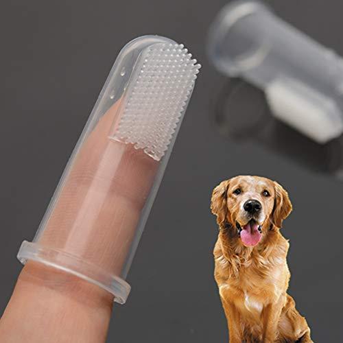 Egurs 10 Stück Haustierzahnbürste Transparente Silikon-Fingerzahnbürste für Katzen und Hunde usw.Kleine Tiere Kinder -