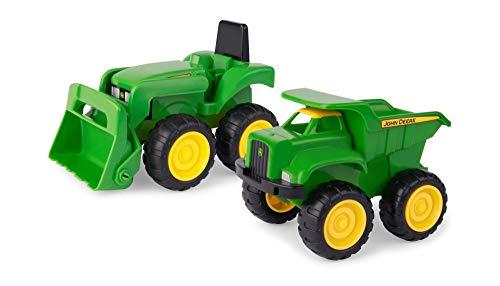 """TOMY Sandkasten Spielzeugset \""""John Deere Mini Bagger und Kipplader\"""" in grün - robuster Spielzeug Bagger und Kipplaster aus Kunststoff für draußen - ab 18 Monate"""